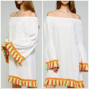 Velzera White Tunic Dress Cover Up w/ Neon Tassels